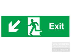 Exit / Running Man/ Arrow Down Left Signs