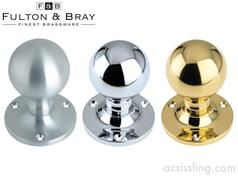 Fulton & Bray FB202 Ball Mortice Knobs on Rose (Face Fix)