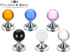 Fulton & Bray FB400 Series Glass Ball Mortice Knobs 50mm (Face Fixed)
