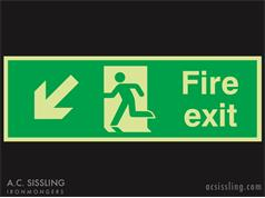 Fire Exit / Running Man / Arrow Down Left Signs PHOTO-LUMINESCENT
