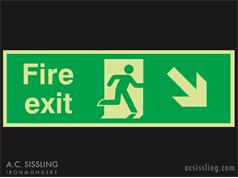 Fire Exit / Running Man / Arrow Down Right Signs PHOTO-LUMINESCENT