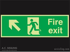 Fire Exit / Running Man / Arrow Up Left Signs PHOTO-LUMINESCENT
