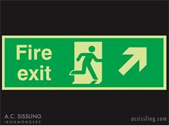 Fire Exit / Running Man / Arrow Up Right Signs PHOTO-LUMINESCENT