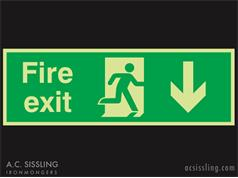 Fire Exit / Running Man / Arrow Down Signs PHOTO-LUMINESCENT