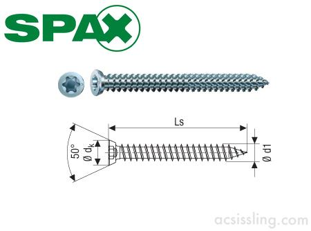 SPAX-RA Frame Anchor ZYP 7.5 X 80mm - AC Sissling