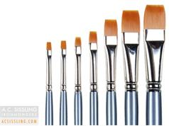 Pro Arte Series 62 Prolon Masterstroke Nylon Flat Brushes - All Purpose High Quality