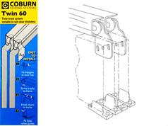 Coburn TWIN 60 Light Wardrobe Track Kits 27kg Top Hung System